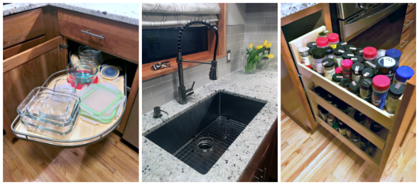 Kitchen features - sink, cabinets, spice rack