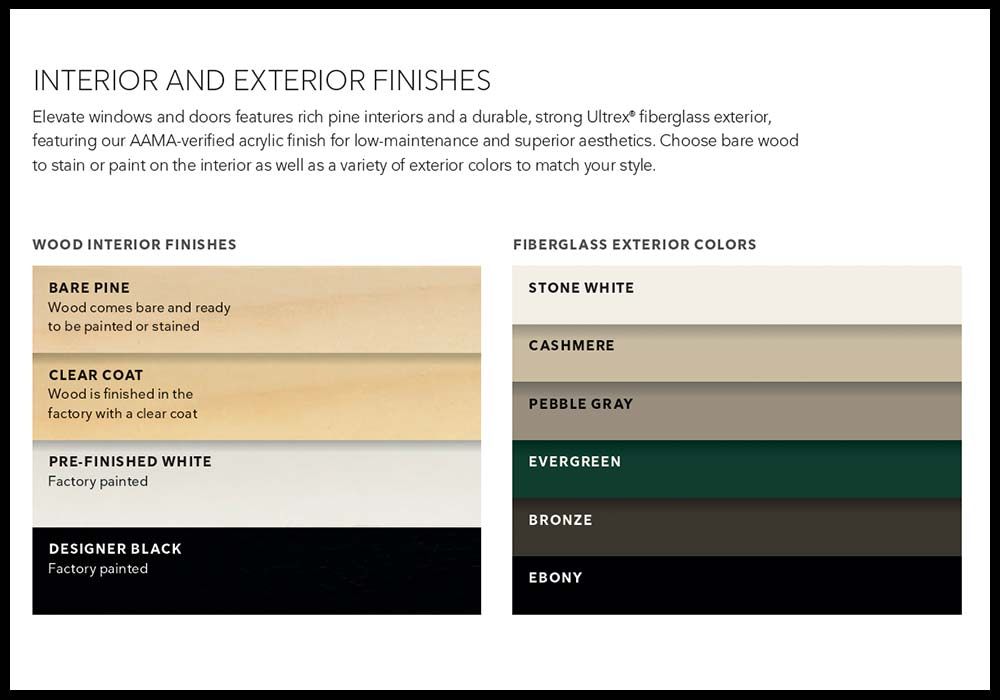 Marvin Windows Elevate Collection Colors