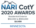 2020 Chapter CotY Awards_Minnesota_Residential Exterior -$50,000 to $100,000_Color_Silver