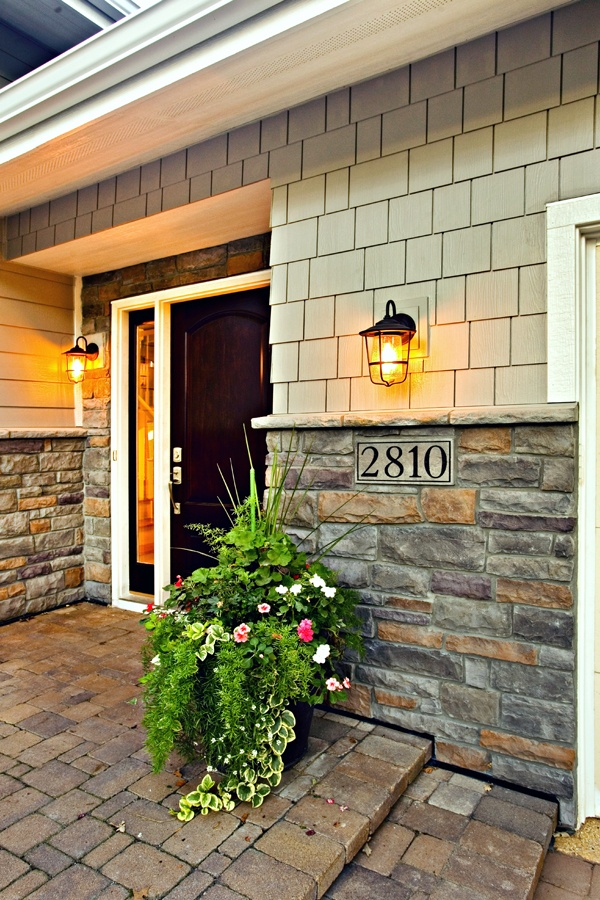 Front entry stone and Bayerbuilt door
