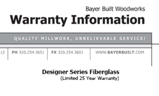 Bayer Built Doors Designer Series Limited Warranty Brochure