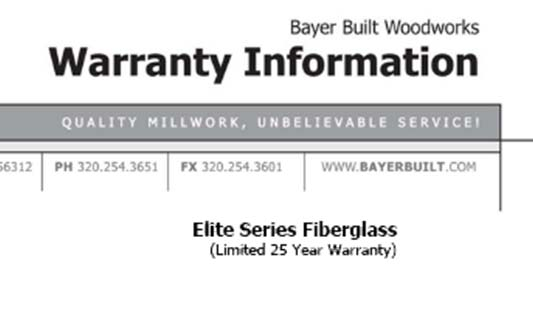 Bayer Built Doors Elite Series Limited Warranty Brochure