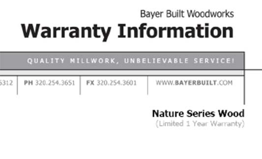 Bayer Built Doors Nature Series Limited Warranty Brochure