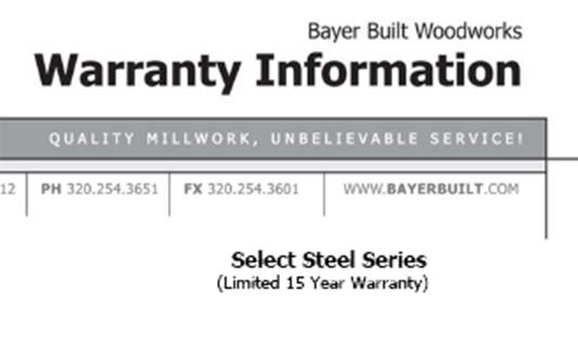 Bayer Built Doors Select Steel Limited Warranty Brochure