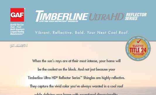 GAF Roofing Timberline Ultra HD Reflector Series Brochure