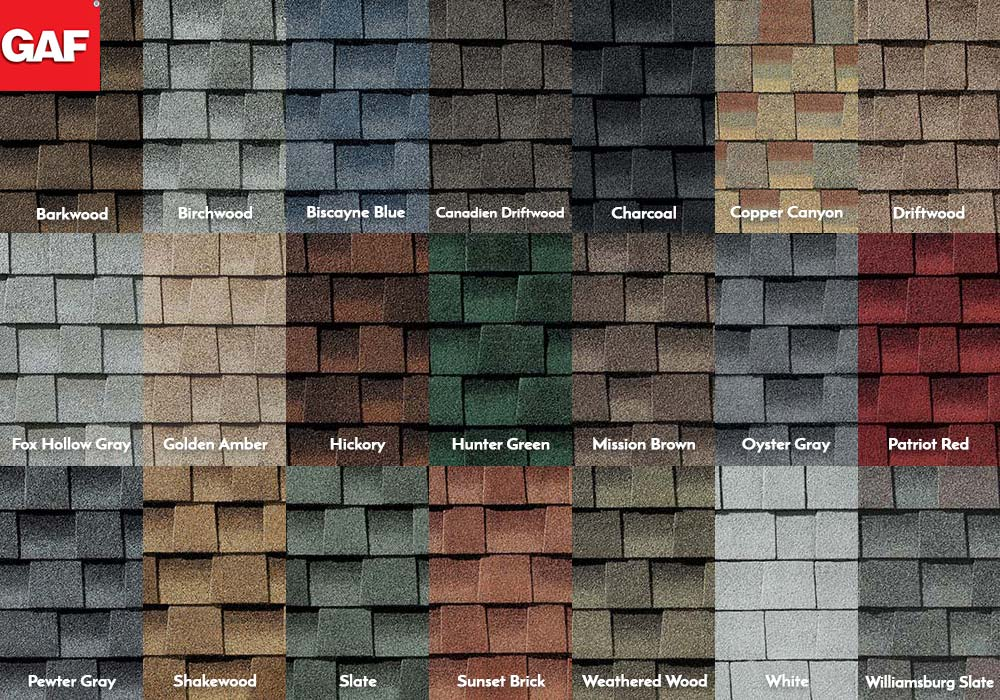 GAF Roofing Timberline HD Swatches