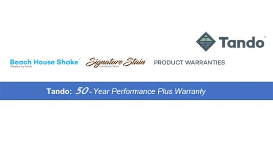 Tando Siding Beach House Shake Limited Warranty Brochure