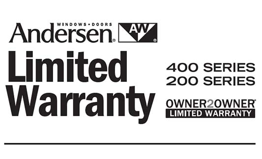 Andersen Windows 200 400 Series Limited Warranty Brochure