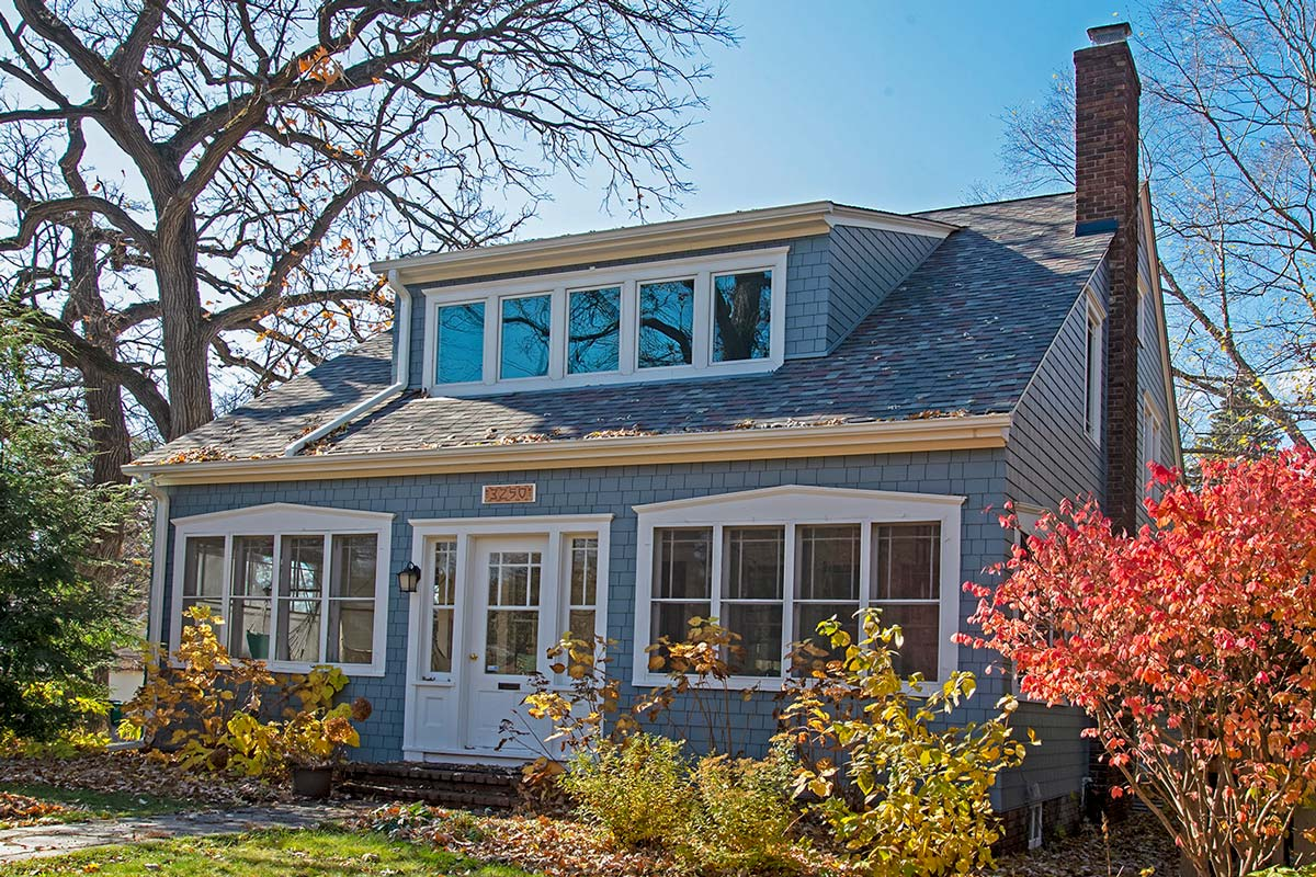 Roofing Owens Corning Duration Colonial Slate, Siding James Hardie Booth Bay Blue Straight Edge Shake, Windows Marvin Tilt and Turn White